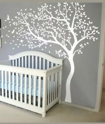White Nursery wall mural with birds and leaves White tree decals Kids room 098