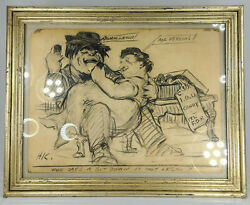 Antique Fine Wwii Political Cartoon Fdr Ma Perkins John Lewis Signed Drawing