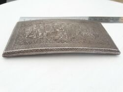 Antique Hand Made Persian Silver Inlay Cigarette Case 188gr