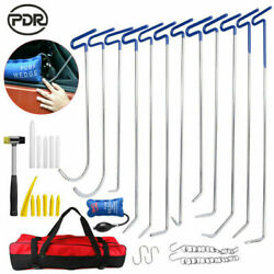 Pdr Push Rods Tools Paintless Dent Repair Auto Body Hail Ding Removal Puller Bag