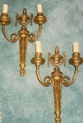 Stunning Pair Of Sconces Louis Lxvi Style - Bronze - French Antique With Shades