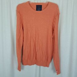 American Eagle 100 Cotton Orange Deconstructed Inside Out Knit Sweater Mens M