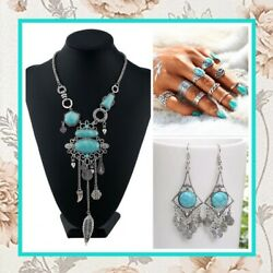 3pc Turquoise Teal Necklace Earrings Rings Boho Chic Bohemian Gypsy Tribal Leaf