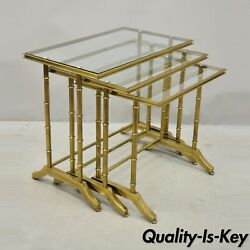 3 Brass Faux Bamboo Glass Top Nesting Side Tables Attributed To Mastercraft