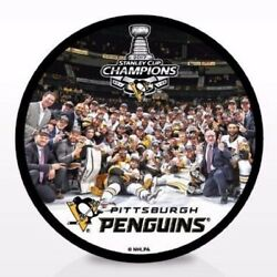 2017 Pittsburgh Penguins Champions Team Celebration Puck - 9l