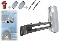 Chrome Door Mirror W/arms Left Driver Side For Kenworth T680 T880+ Set