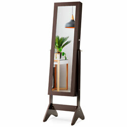 LED Mirrored Bedroom Armoire Jewelry Cabinet w Drawer Christmas Gift Brown