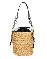 KAYU Colette Seagrass Bucket Handbag Black Natural $29.00