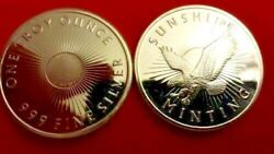 1 Troy Ounce 0.999 Pure Fine Silver Round - The Sunshine Mint-mark Eagle Round