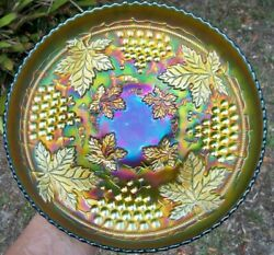 Antique Northwood Grape And Cable Green Carnival Glass Master Ics 10 5/8 Bowl
