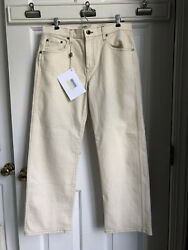 Khaite Wendell Cropped Mid-rise Wide-leg Jeans Pants Ivory Size 29 New
