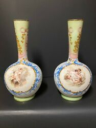 Pair Of Opaque, Round Shaped, Gilded White, Green And Blue Opaline Glass Vases