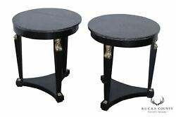 French Empire Vintage Pair Black Lacquer Round Marble Top Gueridon Side Tables