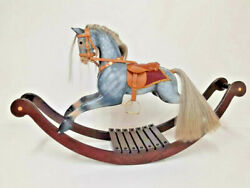 Victorian Rocking Horse Leather Saddle Real Horsehair Glass Eyes Bow Rocker 51