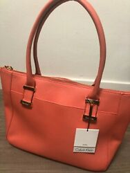 Calvin Klein Terra Cotta Pebbled Leather Gold Buckle Medium Tote Bag $228 $59.99