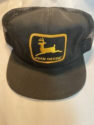 vintage made usa black john deere trucker hat with patch ( Hat 1 No Button) $45.00