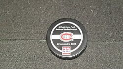 Patrick Roy Jersey Retirement Night Official Game Puck Montreal Canadiens Nhl