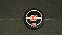 Mike Vernon Jersey Retirement Night Official Game Puck Calgary Flames Nhl