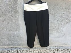 1200 Givenchy Contrasting Band Cropped High-rise Wool Trousers Pants Size 42