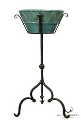 Antique Hand Forged Iron Pedestal Plant Stand With Art Pottery Planter