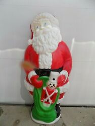 Vintage 1997 Blow Mold 38 Santa Claus With Toy Bag And Soldier Grand Venture