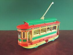 1930and039s Orobr Tin Wind-up Trolley Cable Car Tram W/ Opening Roof Tinplate