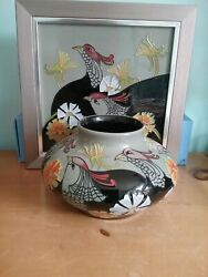 Moorcroft Pottery Courting Birds Squat Vase And Framed Tile By Emma Bossons