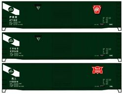 Accurail Ho Scale Kit General American 50' Steel Boxcar 3-pack Prr/cbandq/rock