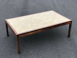 Large Mid Century Modern Scandinavian Rosewood And Tile Top Coffee Table Rectangle