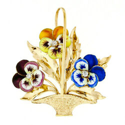 Antique 14K Gold Old Cut Diamond Colorful Enamel Pansy Flower Basket Brooch Pin