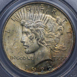 1922 Liberty Peace Dollar Silver Pcgs Ms64 Select Luster Bu Color Toned Blue Mr