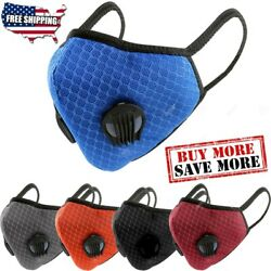 Breathable Nylon Mesh Dual Air Valve Face Mask Covering With PM2.5 Carbon Filter $14.99