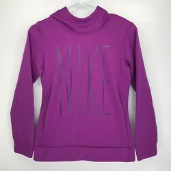 Youth Size Large Girls Nike Dri Fit Hoodie Purple Pink Spell Out Fleece Lined $11.38
