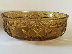 Wheatonware Large Amber Pressed Glass Serving Bowl