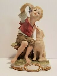 Lefton Figurines KW3501B YOUNG BOY Eating GRAPES with DOG Hand Painted