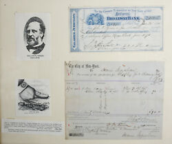 William M. Tweed And Others Tammany Scandal. 2 Pieces City Of New York Voucher