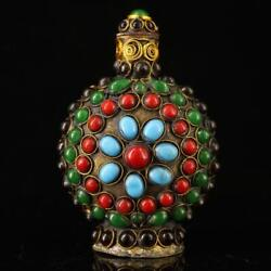 Chinese Old Pure Copper Manual Mosaic Turquoise Gem Snuff Bottles