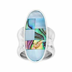 Silpada 'green Geo' Natural Mother-of-pearls And Abalones Ring In Sterling Silver