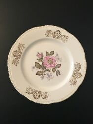 Homer Laughlin Queen Esther 22k Gold Rose Plate 9 1/4 Lunch Plate Cookies