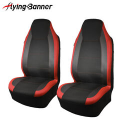 New 2 Front Universal Seat Covers Red Carbon Leather Farm Rest Back Pocket Mesh