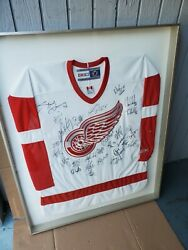 Framed Team Signed 2002 Detroit Red Wings Jersey - Game 6 Playoff