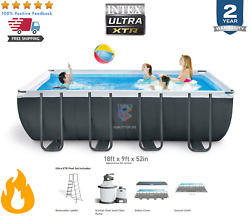 Intex 18ft X 9ft X 52in Ultra Xtr Rectangular Swimming Pool Set W/ Pump And Extras