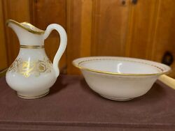Pair Of Translucent Gilded Milky White Opaline Glass Jug And Bowl