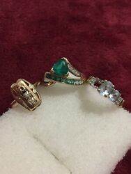 10kt Yellow Gold Mix Lot Rings Scrap Or Wear