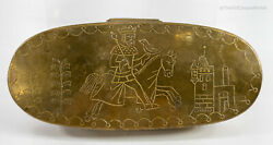 Antique Gothic Style Engraved Brass 19th Century Tobacco Snuff Box King