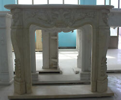 Marble Fireplace Mantel In Egyptian Beige French Design Carved Sku1088