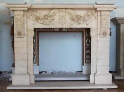 Hand Carved Marble Fireplace Mantel Floral And Brick Style Carvings, Beige