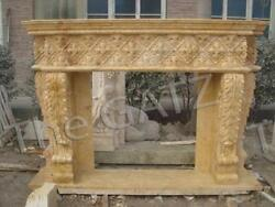 Attractive, Heavily Carved Marble Fireplace Mantel In Beige, 94 Wide