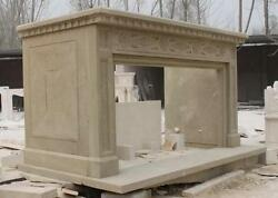 Epic Marble Fireplace Mantel, Simple Design In Beige Marble, 112 Wide