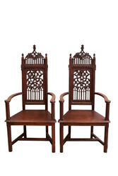 Marvelous Pair Antique French Gothic Arm Chairs High Backs 19th Century Oak
